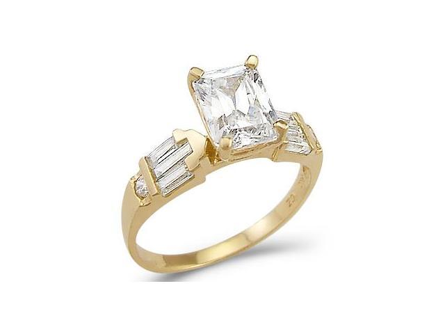 Solid 14k Yellow Gold Emerald CZ Cubic Zirconia Engagement Wedding Ring 2.0 ct