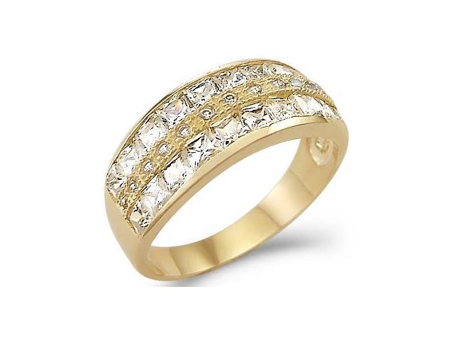 Solid 14k Yellow Gold Ladies CZ Cubic Zirconia Fashion Channel Set Band Ring