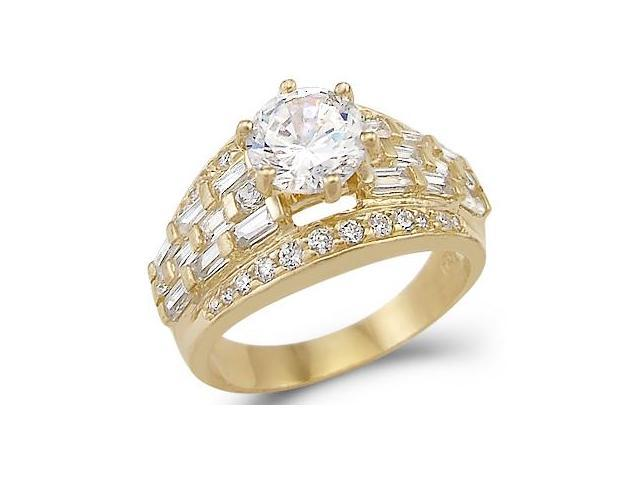 Solid 14k Yellow Gold Huge Solitaire CZ Cubic Zirconia Engagement Ring Large 2.5 ct