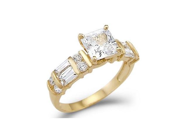Solid 14k Yellow Gold Princess CZ Cubic Zirconia Engagement Ring Band New 1.75 ct