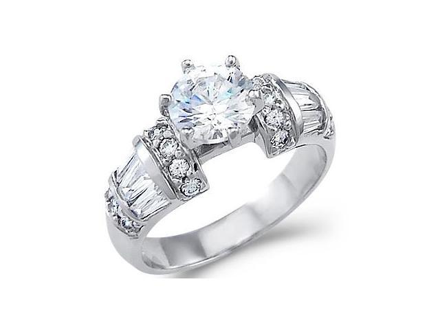 Solid 14k White Gold Solitaire CZ Cubic Zirconia Large Engagement Ring 2 ct.