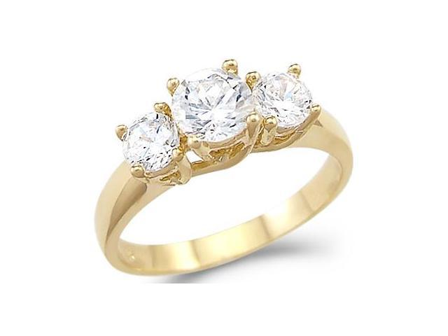 Solid 14k Yellow Gold 3 Three Stone Engagement Large CZ Cubic Zirconia Ring Round Cut 2.0 ct
