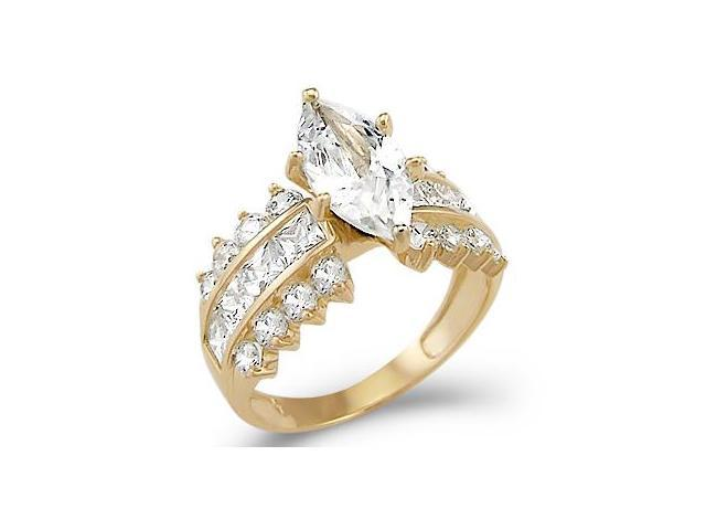 Solid 14k Yellow Gold Marquise CZ Cubic Zirconia Engagement Ring Huge 4.0 ct
