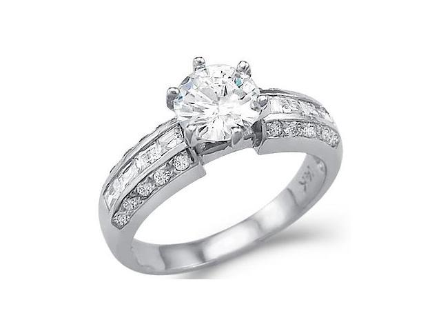Solid 14k White Gold Solitaire CZ Cubic Zirconia Engagement Ring Band Shiny 1.75 ct