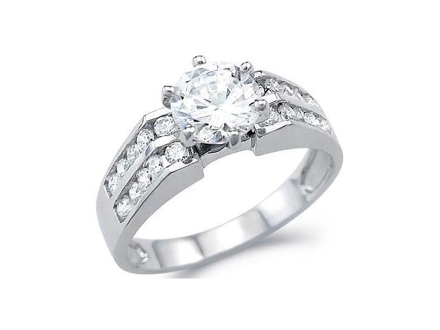 Solid 14k White Gold Solitaire CZ Cubic Zirconia Engagement Wedding Ring Round Cut 2.0 ct