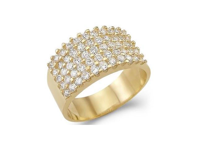 Solid 14k Yellow Gold Large CZ Cubic Zirconia Wedding Anniversary Band Ring 2.0 ct
