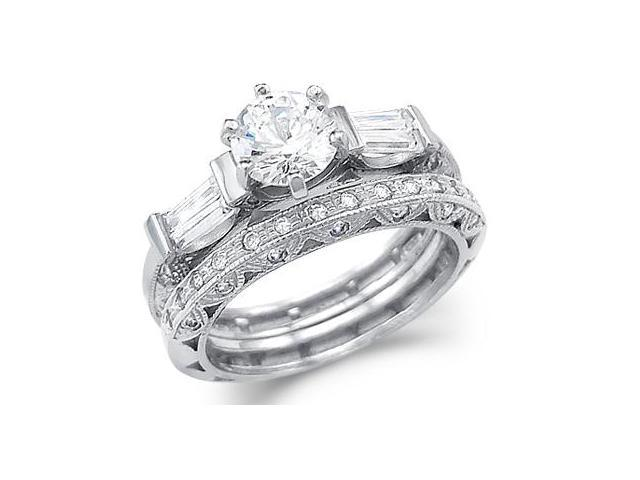 Solid 14k White Gold CZ Cubic Zirconia Engagement Ring Set w/ Eternity Band 2.5 ct