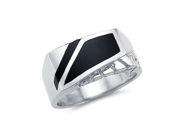 New Solid 14k White Gold Heavy Mens Nugget Onyx Ring