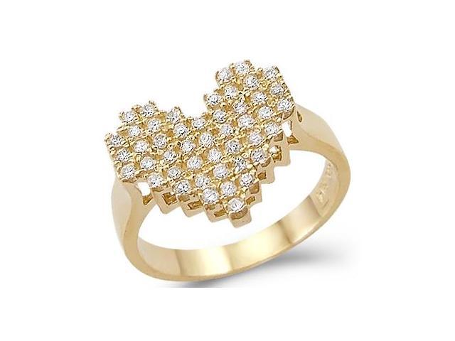 Solid Ladies 14k Yellow Gold Heart Shape Love CZ Cubic Zirconia Ring