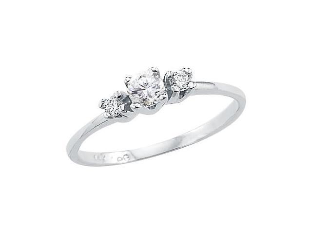 Solid 14k White Gold Three Stone Ladies CZ Cubic Zirconia Engagement Ring Round Cut 0.25 ct