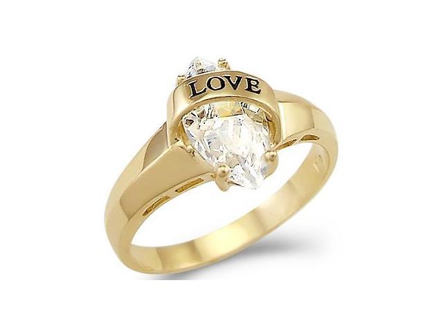 Solid 14k Yellow Gold Love Marquise CZ Cubic Zirconia Engagement Ring Band 1.5 ct