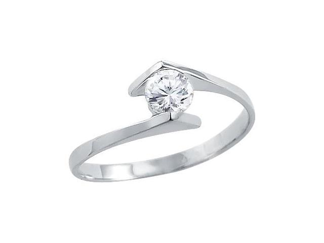 Solid 14k White Gold Ladies Solitaire CZ Cubic Zirconia Engagement Ring Round Cut 0.5 ct