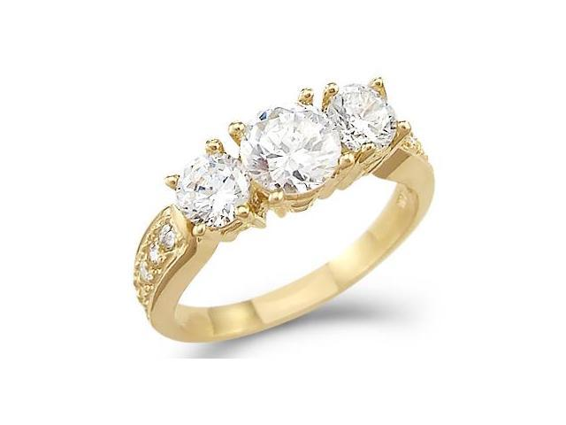 Solid 14k Yellow Gold 3 Three Stone Engagement CZ Cubic Zirconia Ring 1.50ct Round Cut