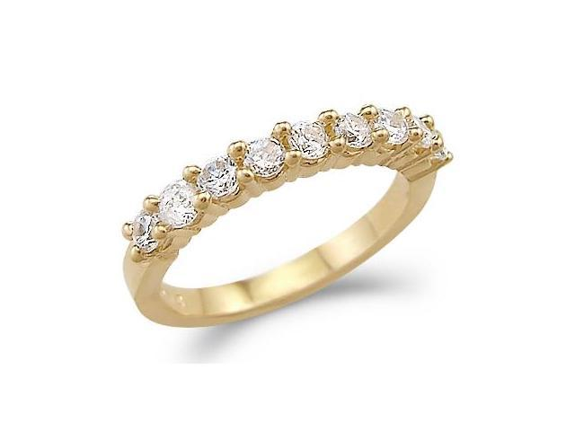 Solid 14k Yellow Gold Ladies CZ Cubic Zirconia Channel Set Wedding Band Ring 1.0 ct