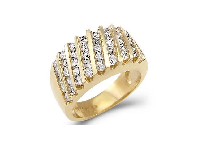 Solid 14k Yellow Gold Ladies CZ Cubic Zirconia Fashion Anniversary Band Ring