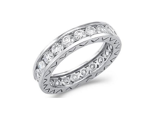 Solid 14k White Gold Eternity Wedding Round CZ Cubic Zirconia Band Ring Size 5, 6, 7, or 8