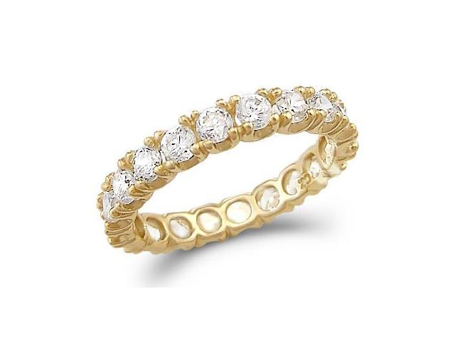 Solid 14k Yellow Gold Eternity Wedding Anniversary CZ Cubic Zirconia Ring Size 5, 6, 7, or 8