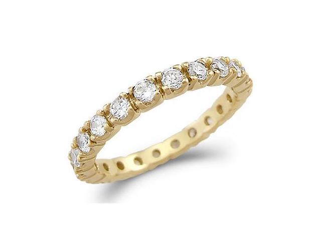 Solid 14k Yellow Gold Eternity Channel CZ Cubic Zirconia Wedding Band Ring Size 5, 6, 7, or 8