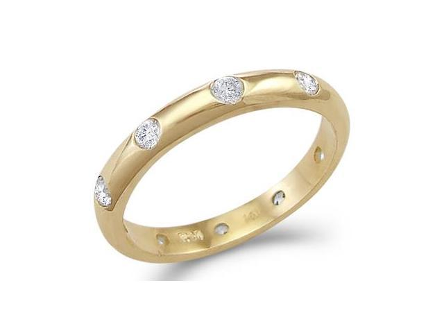 Solid 14k Yellow Gold CZ Cubic Zirconia Eternity Wedding Anniversary Band Size 5, 6, 7, or 8