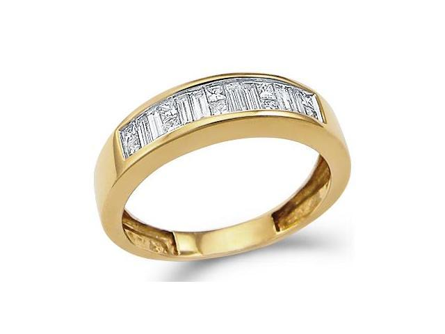 14k Yellow Gold Princess Cut and Baguette Channel Set Diamond Ladies Womens Wedding or Anniversary 5mm Ring Band (1/2 cttw, G - H Color, SI2 Clarity)