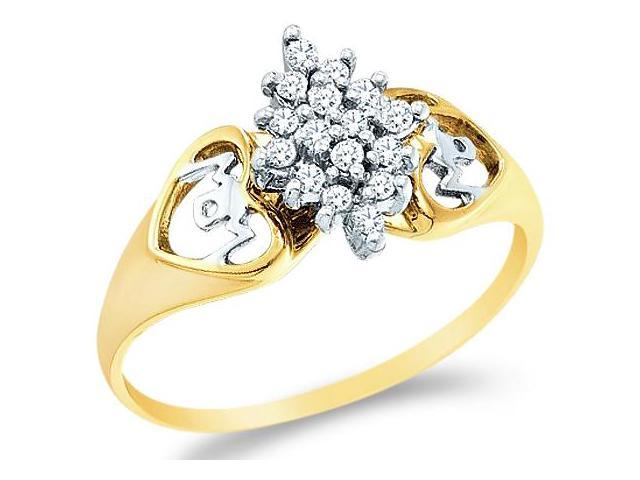 10k Yellow and White Two 2 Tone Gold MOM Mothers Day Heart Love Marquise Shape Cluster Round Cut Ladies Diamond Fashion Ring Band 10mm (.15 cttw, H Color, I1 Clarity)