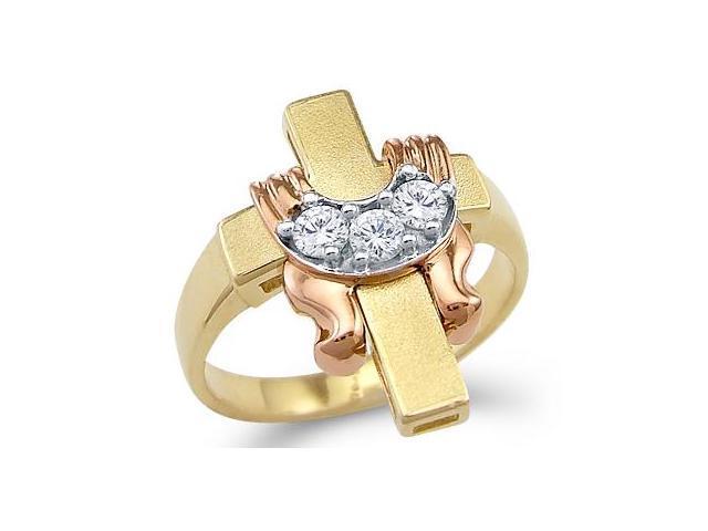 Solid 14k Yellow Rose Gold Cross Drape 3 Stone Round CZ Cubic Zirconia Ring