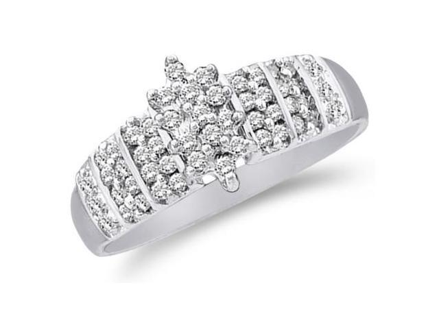 10k White Gold Marquise Shape Cluster Round Cut Diamond Engagement Ring 8mm (1/4 cttw, H Color, I1 Clarity)