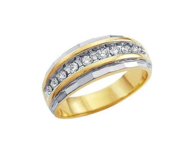 10k Yellow and White Two 2 Tone Gold Classic Channel Set Round Cut Mens Diamond Wedding Ring Band 7mm (1/4 cttw, H Color, I1 Clarity)