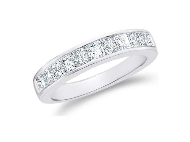 14k White Gold Princess Cut Channel Set Eleven Diamond Ladies Womens 11 Stone Wedding or Anniversary 3mm Ring Band (1/2 cttw, G - H Color, I1 Clarity)