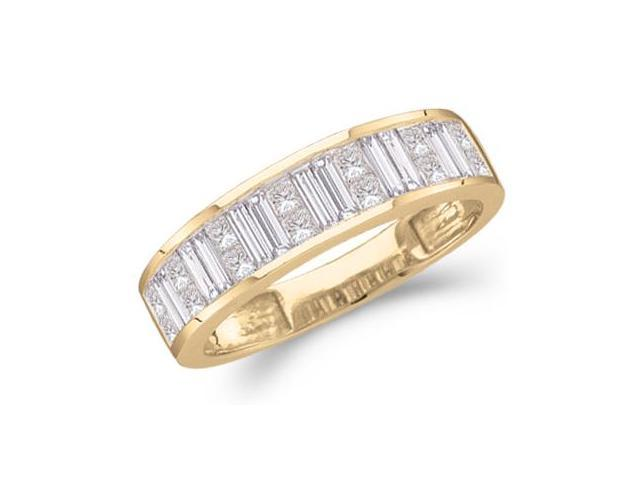 14k Yellow Gold Princess Cut and Baguette Channel Set Diamond Ladies Womens Wedding or Anniversary 5mm Ring Band (1.0 cttw, G - H Color, SI2 Clarity)