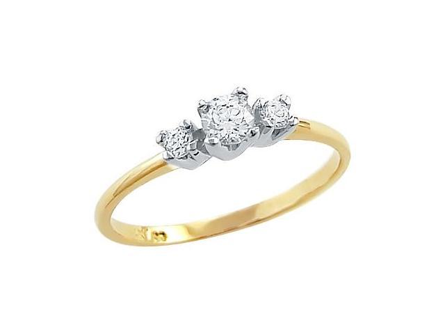 Solid 14k Yellow Gold Three Stone Ladies CZ Cubic Zirconia Engagement Ring Round Cut 0.25 ct
