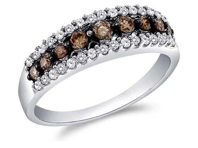 10k White Gold Round Cut White and Brown Chocolate Diamond Womens Ladies Wedding Anniversary Fashion 5mm Ring Band (1/2 cttw, G - H Color, I1 Clarity)