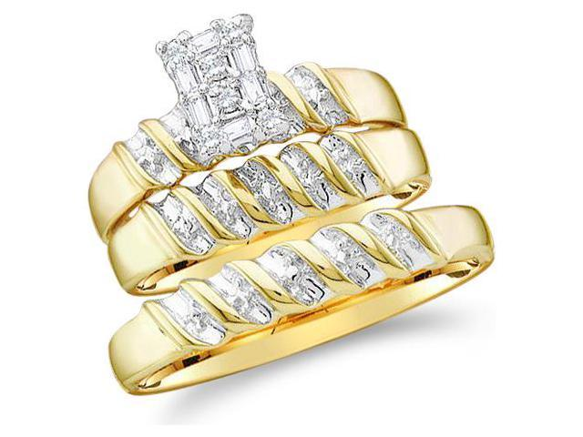 10k Two 2 Tone Gold Trio 3 Three Ring Matching Engagement Wedding Ring Band Set - Round and Baguette Diamonds - Emerald Shape Center Setting (1/10 cttw, H Color, I1 Clarity)