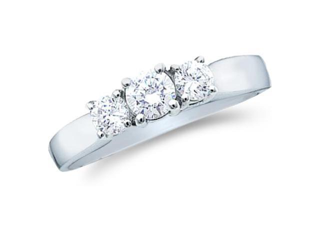 Solid 14k White Gold 3 Three Stone Round Cut Brilliant Diamond Engagement or Anniversary Ring Band (1/4 cttw, G - H Color, SI2 Clarity)