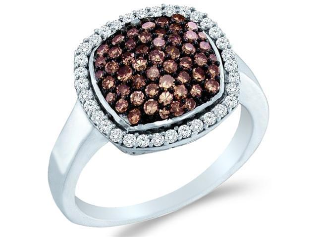 10k White Gold Chocolate Brown and White Diamond Round Cut ladies womens Diamond Engagement, Anniversary or Right Hand Ring Band  (.95 cttw, H Color, I1 Clarity)