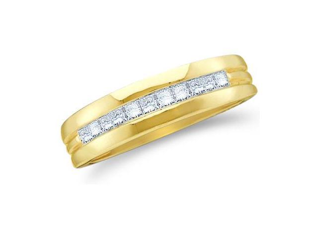 14k Yellow Gold Classic Channel Invisible Set Princess Cut Mens Diamond Wedding Ring Band 6mm (1/2 cttw, G - H Color, SI2 Clarity)