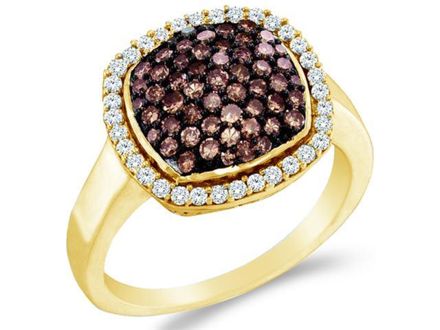 10k Yellow Gold Chocolate Brown and White Diamond Round Cut ladies womens Diamond Engagement, Anniversary or Right Hand Ring Band  (.95 cttw, H Color, I1 Clarity)