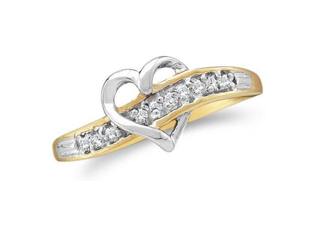 10k Yellow and White Two 2 Tone Gold Heart Shape Round Cut Ladies Diamond Wedding Ring Band 8mm (.05 cttw, H Color, I1 Clarity)
