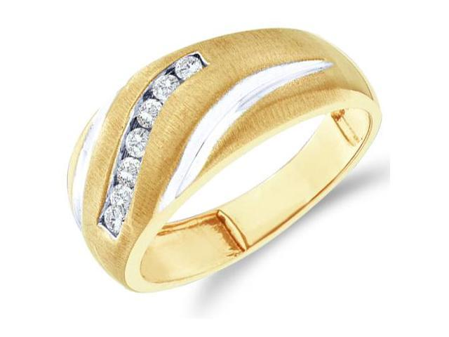 10k Yellow and White Two 2 Tone Gold Satin Finish Channel Set Round Cut Mens Diamond Wedding Ring Band 9mm (1/4 cttw, H Color, I1 Clarity)