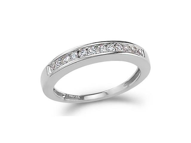 14k White Gold Round Cut Twelve Diamond Ladies Womens Channel Set 12 Stone Wedding or Anniversary 3mm Ring Band (1/4 cttw, G - H Color, I1 Clarity)