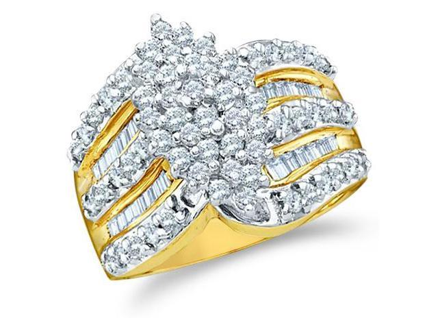10k Yellow and White Two 2 Tone Gold Large Marquise Shape Cluster Round Cut & Baguette Diamond Engagement Wedding Ring Band 15mm (1.02 cttw, H Color, I1 Clarity)