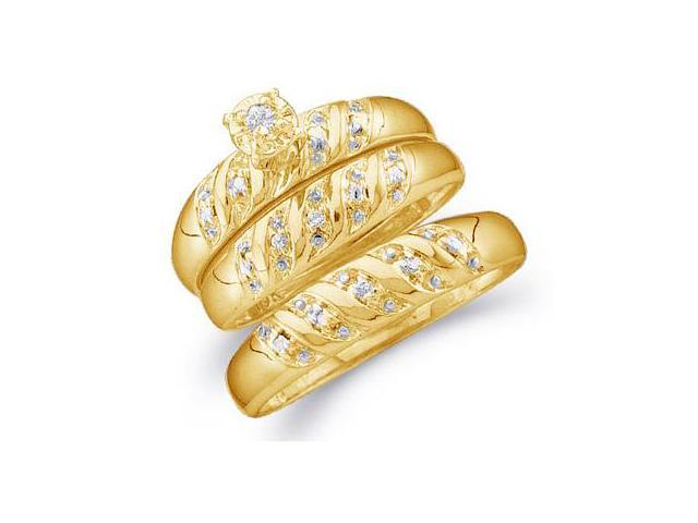 10k Yellow Gold Mens and Ladies Couple His & Hers Trio 3 Three Ring Matching Engagement Wedding Ring Band Set - Round Diamonds - Solitaire Center Setting (.07 cttw, H Color, I1 Clarity)