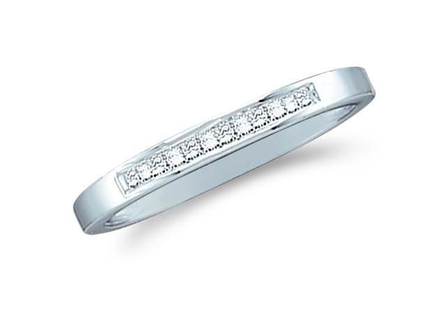 14k White Gold Princess Cut Channel Set Diamond Ladies Womens Wedding or Anniversary 2mm Ring Band (.14 cttw, G - H Color, I1 Clarity)