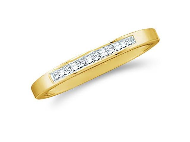 14k Yellow Gold Princess Cut Channel Set Diamond Ladies Womens Wedding or Anniversary 2mm Ring Band (.14 cttw, G - H Color, I1 Clarity)
