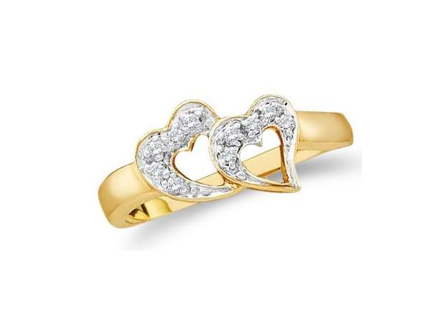 10k Yellow and White Two 2 Tone Gold Two 2 Heart Shape Love Round Cut Ladies Diamond Fashion Ring Band 7mm (.07 cttw, H Color, I1 Clarity)
