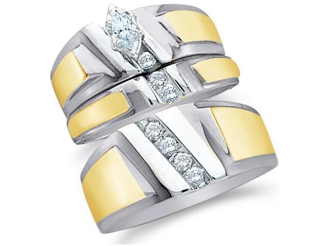 10k White and Yellow 2 Two Tone Gold Trio 3 Three Ring Matching Engagement Wedding Ring Band Set - Marquise and Round Diamonds - Solitaire Center Setting (.23 cttw, H Color, I1 Clarity)