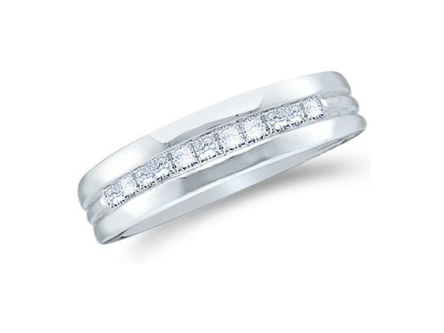 14k White Gold Classic Channel Invisible Set Princess Cut Mens Diamond Wedding Ring Band 6mm (1/2 cttw, G - H Color, SI2 Clarity)
