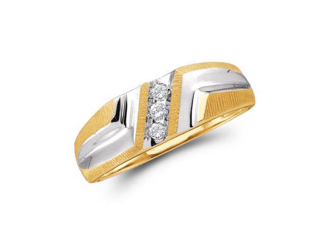 10k Yellow and White Two 2 Tone Gold Three 3 Stone Satin Finish Channel Set Round Cut Mens Diamond Wedding Ring Band 7mm (1/10 cttw, H Color, I1 Clarity)