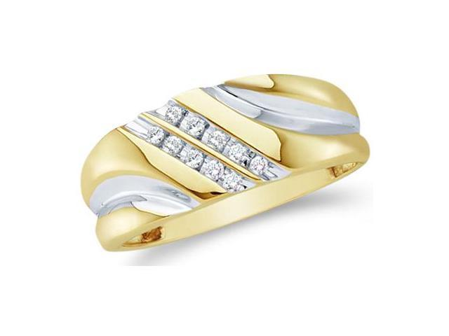 10k Yellow and White Two 2 Tone Gold Two Row 10 Stone Channel Set Round Cut Mens Diamond Wedding Ring Band 9mm (1/8 cttw, H Color, I1 Clarity)