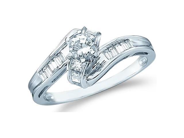 14k White Gold Diamond Engagement Solitaire with Side Stones Channel Set Round Brilliant and Baguette Cut Diamond Ring  (1/2 cttw, 1/5 ct Center, G - H Color, I1 Clarity)